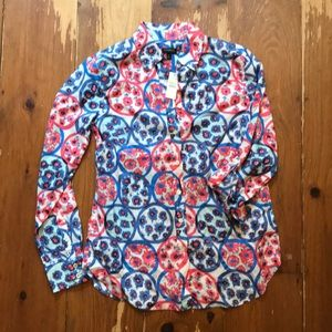 Talbots pattern button down women's xs